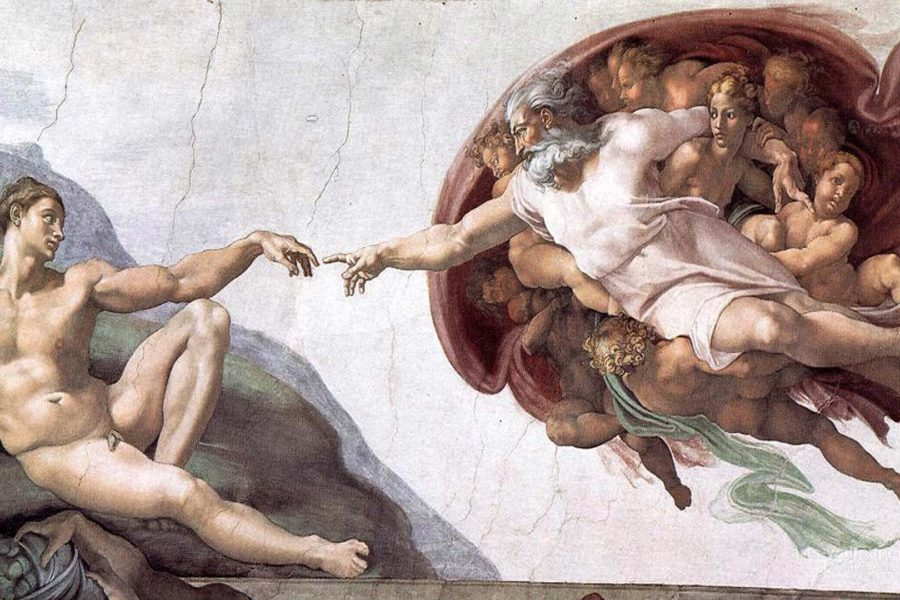 Michelangelo painting of Adam